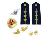 Ränge und Symbole der chinesischen Luftwaffe Stockbilder
