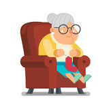 Rät maskaullsocka för illustration för vektor för design för lägenhet för tecknad film för barnbarnSit Rest Granny Old Lady tecke royaltyfri illustrationer