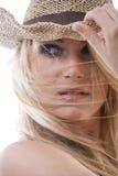 Rätselhaftes durchdachtes schönes blondes Stockfoto
