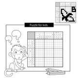 Rätselspiel für Schulkinder Banane Japanisches Schwarzweiss-Kreuzworträtsel mit Antwort Malbuch für Kinder Lizenzfreie Stockbilder