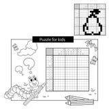 Rätselspiel für Schulkinder Birne Japanisches Schwarzweiss-Kreuzworträtsel mit Antwort Malbuch für Kinder Lizenzfreie Stockbilder