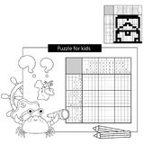 Rätselspiel für Schulkinder Japanisches Schwarzweiss-Kreuzworträtsel der Schatztruhe mit Antwort Malbuch für Kinder Lizenzfreies Stockfoto