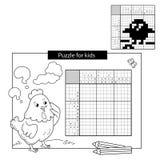 Rätselspiel für Schulkinder Küken mit Endlosschraube Japanisches Schwarzweiss-Kreuzworträtsel mit Antwort Malbuch für Kinder Stockfotos