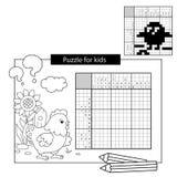 Rätselspiel für Schulkinder Küken mit Endlosschraube Japanisches Schwarzweiss-Kreuzworträtsel mit Antwort Malbuch für Kinder Lizenzfreies Stockbild