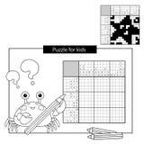 Rätselspiel für Schulkinder Starfish Japanisches Schwarzweiss-Kreuzworträtsel mit Antwort Lizenzfreie Stockfotos