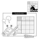 Rätselspiel für Schulkinder wal Japanisches Schwarzweiss-Kreuzworträtsel mit Antwort vektor abbildung