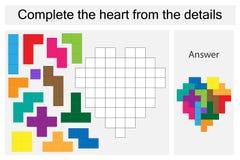Rätselspiel mit bunten Details für Kinder, schließen das Herz, hartes Niveau, Ausbildungsspiel für Kinder, Vorschule ab lizenzfreie abbildung