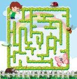 Rätselspielschablone mit Jungen und vielen Insekten lizenzfreie abbildung