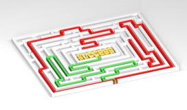 Rätt långt till framgång - maze Royaltyfria Bilder