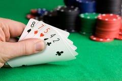 rättfram poker Arkivfoto