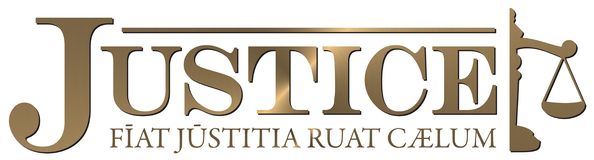 Rättvisa Logo Gold Latin Saying stock illustrationer