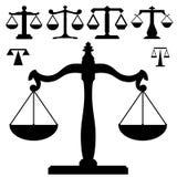 rättvisa skalar silhouettevikt stock illustrationer