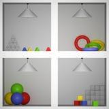 Räume mit Spielwaren, 3D Stockbild
