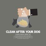 Räumen Sie nach dem Hund auf lizenzfreie abbildung