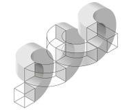 Räumliches Paradox, Esher-` s unbegrenztes Treppenhausprinzip Isometrische gewölbte Formen Stockfoto