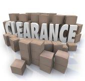 Räumungsverkauf-Inventar packt Lager ein Stockfotografie
