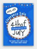 Räumungsverkauf-Schablone für Juli 4. Stockfotos