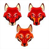 räv Rävhuvud Röd räv en uppsättning av tre olika rävhuvud stock illustrationer