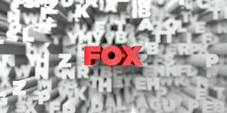 RÄV - Röd text på typografibakgrund - 3D framförde fri materielbild för royalty royaltyfri illustrationer