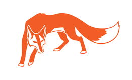 Rävbild på vit bakgrund Vektor för löst djur som logo eller maskot Royaltyfria Foton