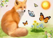 Räven i en miljö av fjärilar sitter på en sommarglänta barnillustration s Arkivbild