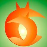 rävlogo, apelsin, gräsplan Arkivfoton