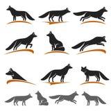 Rävuppsättning vektor royaltyfri illustrationer