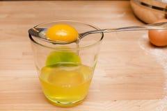 Rå äggula i sked och exponeringsglas med vit Royaltyfri Bild