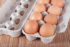 Rå bruna ägg i en ask Royaltyfri Fotografi
