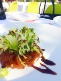 Rå dekorerad tonfiskmaträtt Royaltyfria Foton