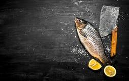Rå fisk med en yxa Arkivbild