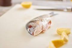 Rå fisk med kryddor och citronen Royaltyfria Foton