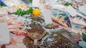 Rå fisk på en stall Arkivbilder