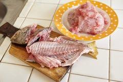 Rå fisk som är peel Royaltyfri Bild