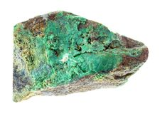 rå grön sten för Garnierite (mynt - malm) på vit royaltyfria foton