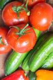Rå grönsaker på köksnitt stiger ombord, den bästa sikten arkivfoto