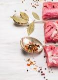 Rå grisköttfilé med örter och kryddor i tappningsked Royaltyfri Bild