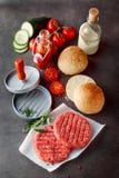 Rå hamburgaresmå pastejer, bullar och nya ingredienser Royaltyfri Fotografi