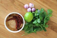 Rå ingrediens för thailändskt matrecept, Laab kryddig finhackad sallad, mintkaramell eller pepparmint, persilja, limefrukt, schal arkivbilder