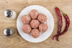 Rå köttbullar i den vita plattan, salt, peppar och chilipeppar Royaltyfria Foton