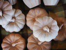 Rå keramiska pumpor, innan de målar för, dekorerar den halloween holien Arkivfoto