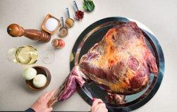 rå kryddor för meat royaltyfria foton