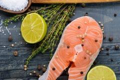Rå lax med kryddor och limefrukt fotografering för bildbyråer