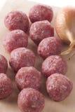 rå meatballs Royaltyfri Bild