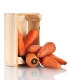 Rå morötter i träask Arkivbild