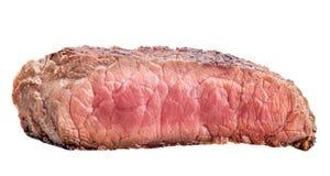 Rå nötköttbiff, ett stycke av kött som isoleras på vit bakgrund Arkivfoton