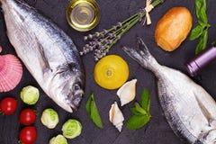 Rå ny doradofisk med brussels groddar, tomater, citronen, den unga potatisen och gräsplaner Royaltyfri Fotografi