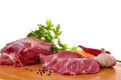 rå ny pork för bräde Arkivfoto
