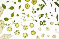 Rå nya ingredienser på vit bakgrund Royaltyfri Bild