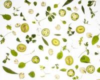 Rå nya ingredienser på vit bakgrund Arkivfoton